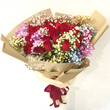 Roses Red Rainbow Baby's Breath Bouquet HBR18