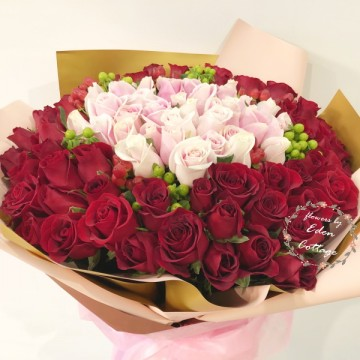 Roses 99 Red and Pink Bouquet HBR22