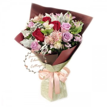 Roses Red and Purple Bouquet HBR2