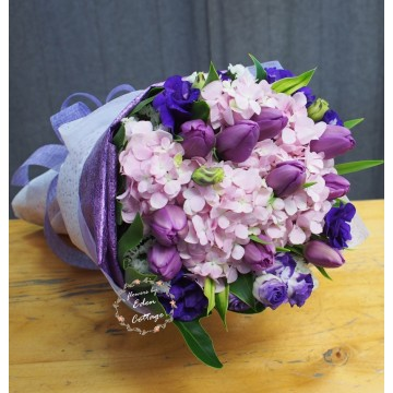Tulip Purple and Pink Hydrangea Bouquet THB13