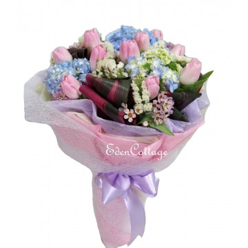 Tulip Pink and Blue Hydrangea Bouquet THB12