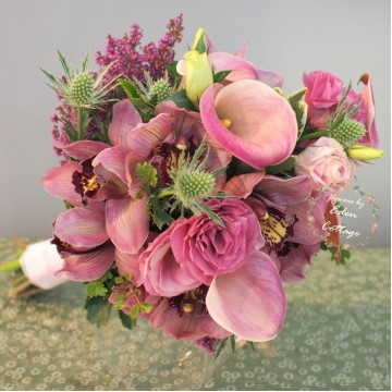 Cymbidium orchid and calla lily premium bridal bouquet