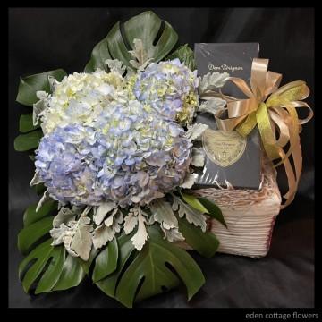 Dom Perignon with Hydrangeas WCF12