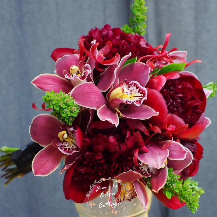 Peony and Cymbidium Orchids Luxury Bridal Bouquet