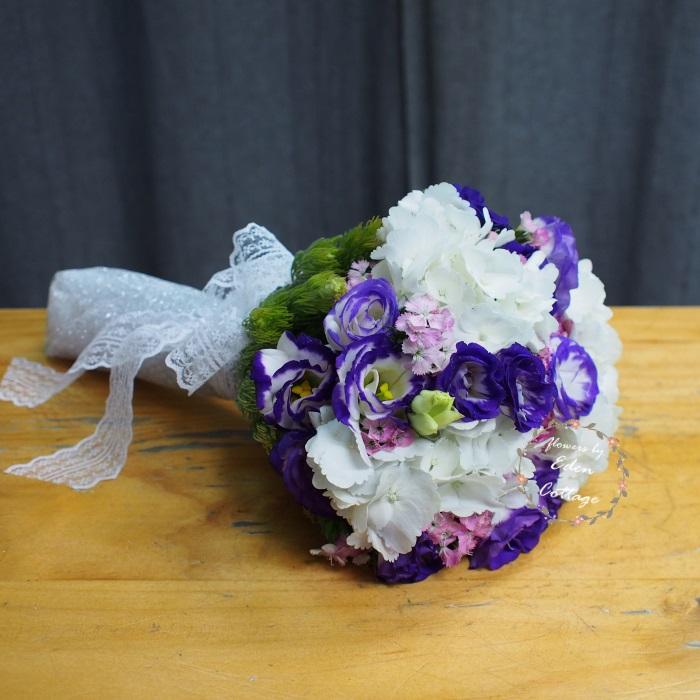 Hydrangea and Esutoma Classic Bridal Bouquet