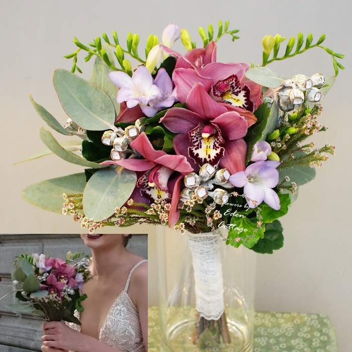 Cymbidium and freesia premium bridal bouquet