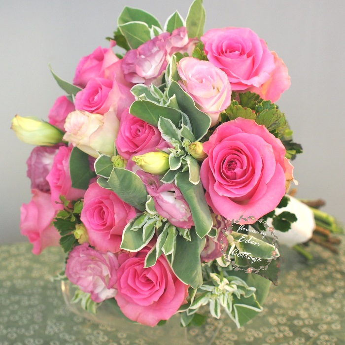 Rose and Eustoma Classic Bridal Bouquet